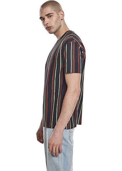 Urban Classics Herren Oversized T-Shirt Streifen Muster midnight navy blau rot