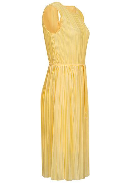 ONLY Damen Plissee Falten Kleid inkl. Bindegürtel 2-lagig dusky citron gelb