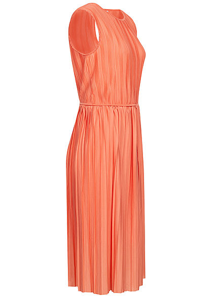 ONLY Damen Plissee Falten Kleid inkl. Bindegürtel 2-lagig terra cotta rose