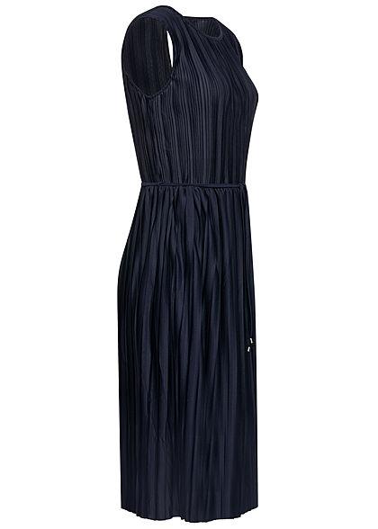 ONLY Damen Plissee Falten Kleid inkl. Bindegürtel 2-lagig night sky navy blau