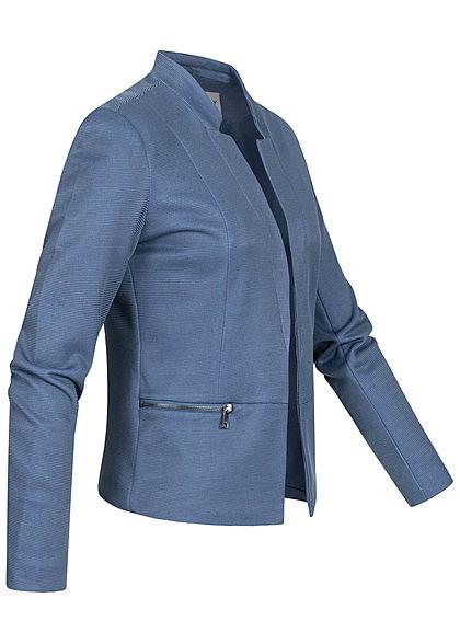 ONLY Damen Blazer 2-Zip Pockets offener Schnitt Streifen Muster faded blau den