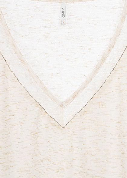 ONLY Damen V-Neck Melange Lurex T-Shirt mit Spitze & Deko Perlen cloud dancer weiss