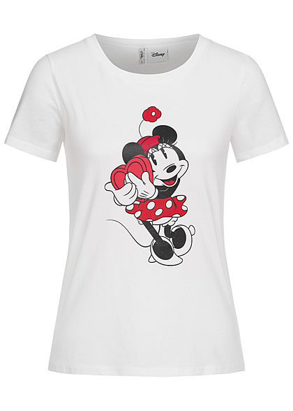 ONLY Damen T-Shirt Minnie Mouse Print bright weiss
