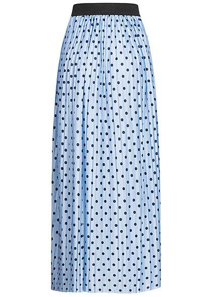 ONLY Damen Plissee Longform Falten Rock Punkte Muster Gummibund cashmere blau