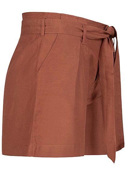 ONLY Damen High Waist Shorts inkl. Bindegürtel 2-Pockets Knopfleiste apple butter rot