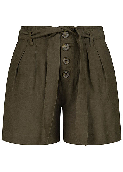 ONLY Damen NOOS High-Waist Shorts Bindegürtel 2-Pockets Knopfleiste forest night oliv