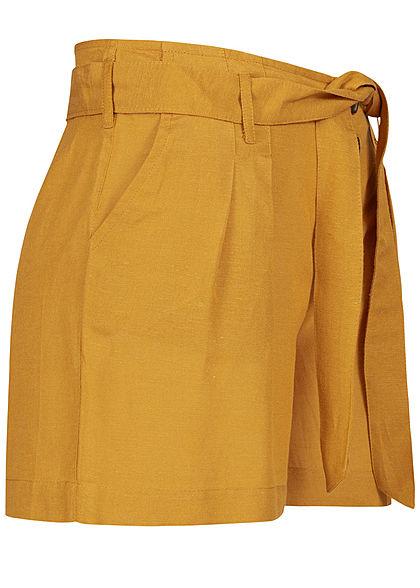ONLY Damen High Waist Shorts inkl. Bindegürtel 2-Pockets Knopfleiste golden spice gelb