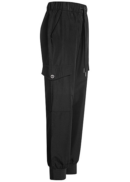 ONLY Damen Cargo Hose 4-Pockets Glanz Optik schwarz