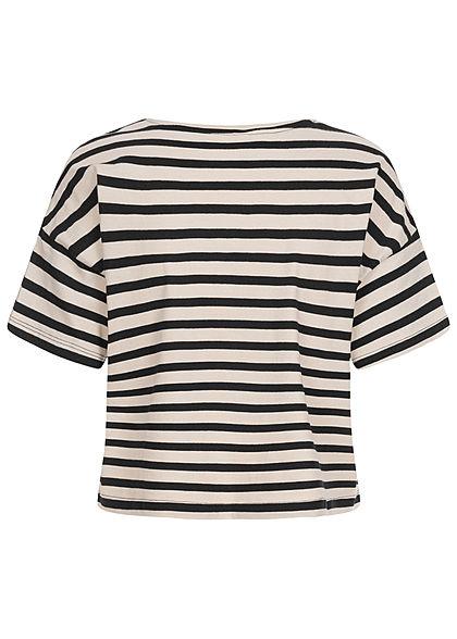 ONLY Damen Oversized T-Shirt Streifen Muster schwarz pumice stone beige