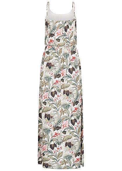 ONLY Damen Maxi Kleid Taillengummizug Floraler Print cloud dancer weiss grau