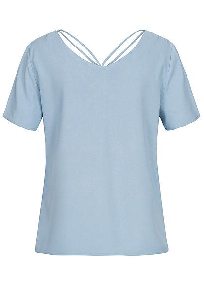 ONLY Damen V-Neck Blusen Shirt mit Strings oben faded denim blau