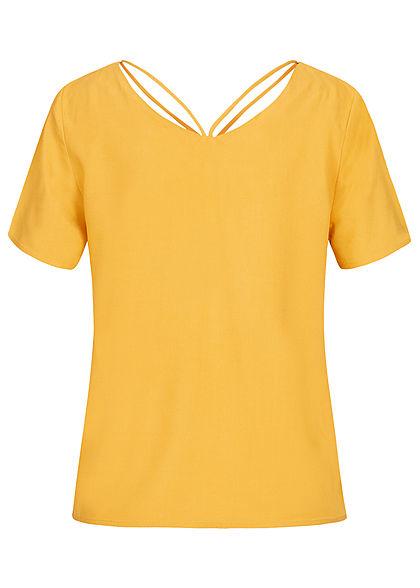 ONLY Damen V-Neck Blusen Shirt mit Strings oben golden spice gelb