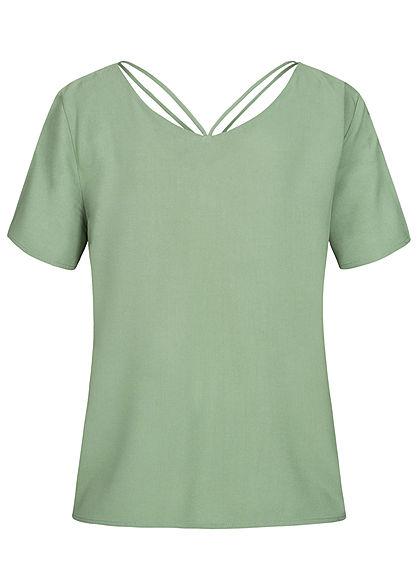 ONLY Damen V-Neck Blusen Shirt mit Strings oben hedge grün