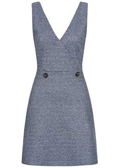 ONLY Damen V-Neck Jersey Mini Kleid Wickeloptik Karo Muster night sky navy blau