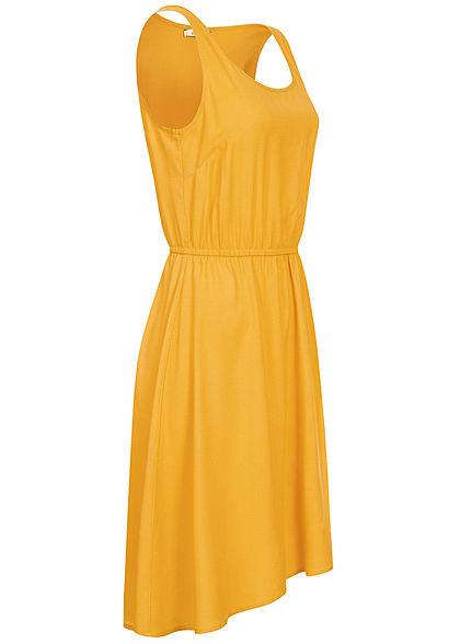 ONLY Damen Solid Kleid Taillen Gummizug Vokuhila golden spice gelb