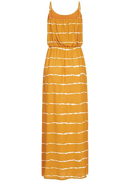 ONLY Damen Maxi Kleid Tie Dye Farbprint golden spice gelb