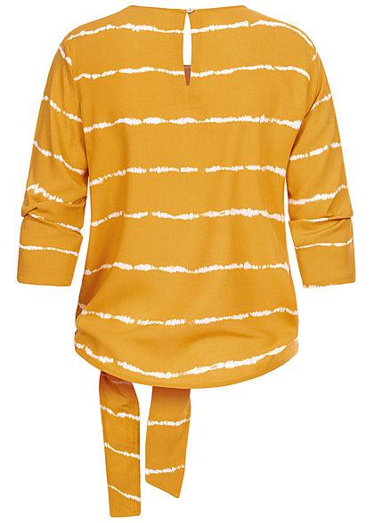 ONLY Damen 3/4-Arm Shirt Tie Dye Farbprint seitlich zum knoten golden spice gelb