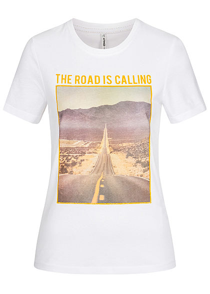 ONLY Damen T-Shirt The Road Print Glitzer bright weiss