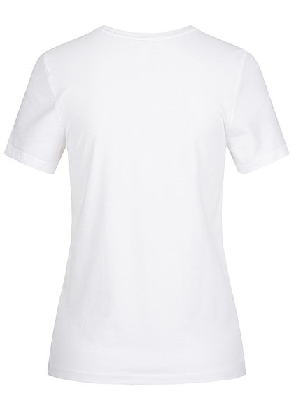 ONLY Damen T-Shirt The Road Print Glitzer bright weiss