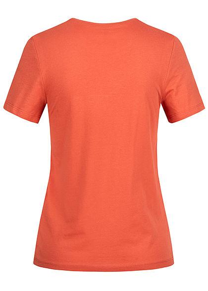 ONLY Damen T-Shirt The Time Print Glitzer hot sauce rot