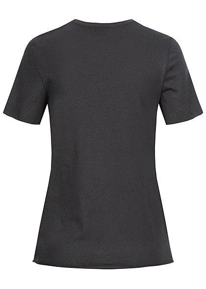ONLY Damen T-Shirt Snoopy Print Strass Steine phantom dunkel grau