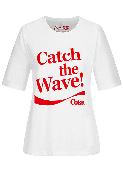ONLY Damen T-Shirt Coca Cola Wave Print bright weiss rot