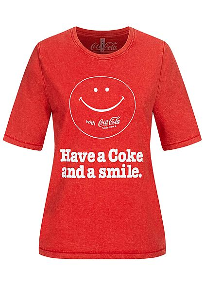 ONLY Damen T-Shirt Coca Cola Smiley Print high risk rot weiss melange