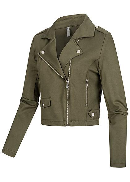 ONLY Damen Biker Poptrash Kurz Jacke 2 Deko Zipper kalamata oliv grün