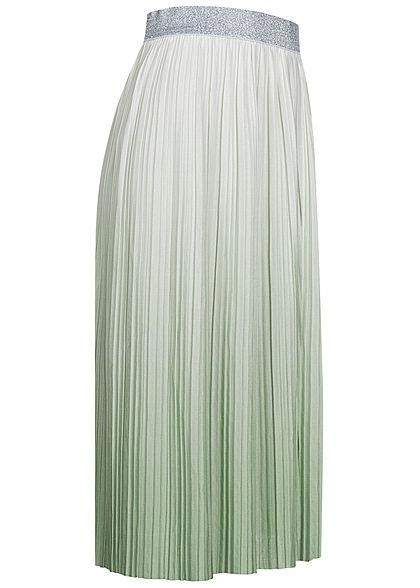 ONLY Damen Midi Plissee Falten Rock Glitzer Gummibund Tie Dye Farbverlauf weiss frosty grün