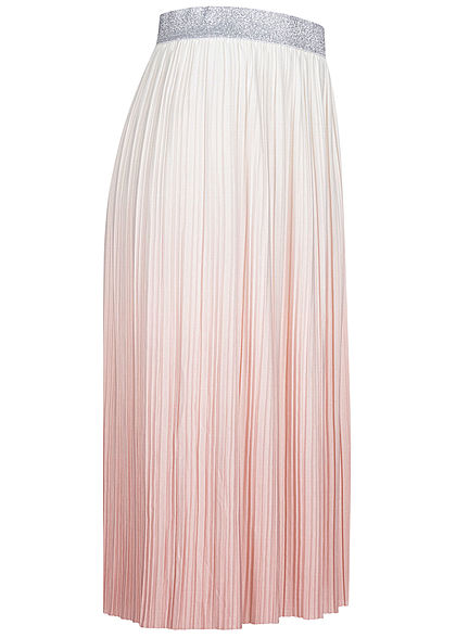 ONLY Damen Midi Plissee Falten Rock Glitzer Gummibund Tie Dye Farbverlauf weiss smoke rose