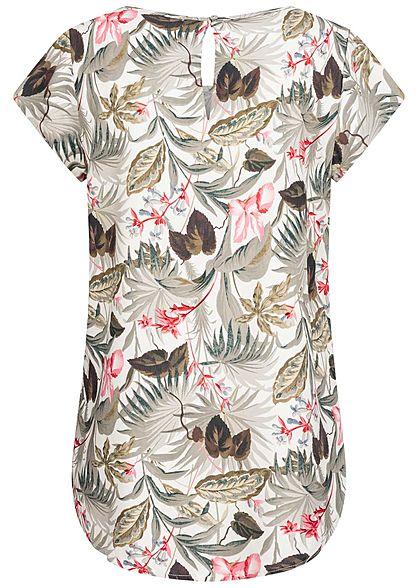 ONLY Damen Blusen Shirt Tropical Print cloud dancer weiss grau rosa