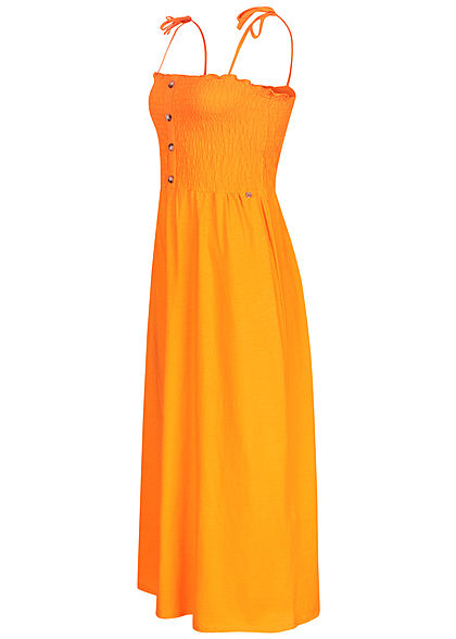 Tom Tailor Damen Midi Kleid Deko Knopfleiste orange gelb