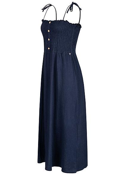 Tom Tailor Damen Midi Kleid Deko Knopfleiste navy blau