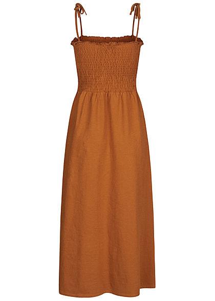 Tom Tailor Damen Midi Kleid Deko Knopfleiste mango braun