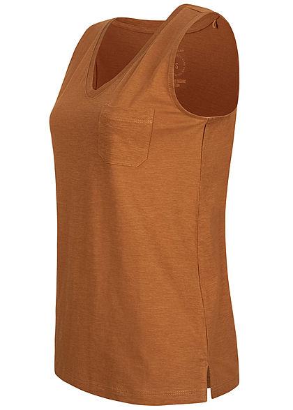 Tom Tailor Damen V-Neck Top mit Brusttasche Streifen Muster bright camel braun