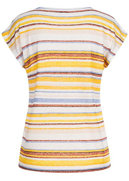 Tom Tailor Damen T-Shirt Multicolor Streifen Muster gelb multicolor