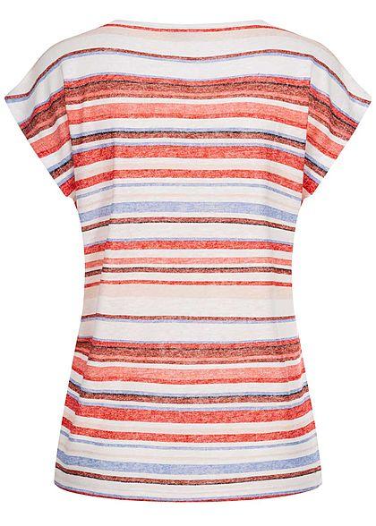 Tom Tailor Damen T-Shirt Multicolor Streifen Muster mauve rot multicolor