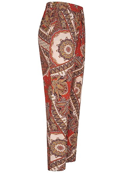 ONLY Damen Sommerhose 2-Pockets Krepp Stoff Paisley Print lotus rosa rot