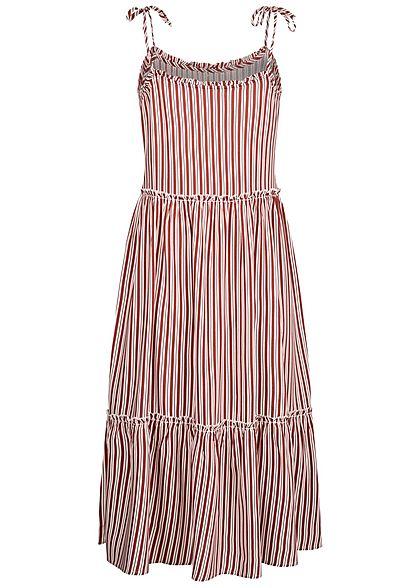 ONLY Damen Midi Kleid Deko Knopfleiste Streifen Muster apple butter weiss