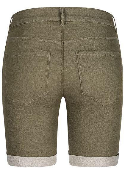 ONLY Damen Bermuda Shorts 3-Pockets Regular Waist kalamata oliv grün melange