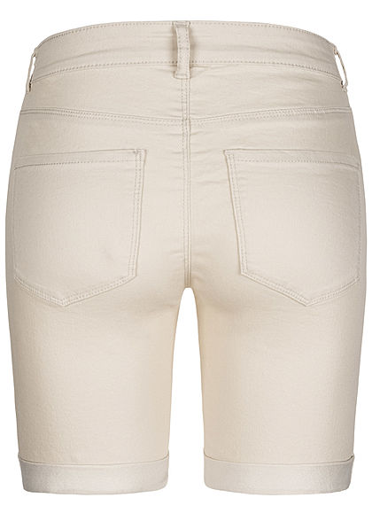 ONLY Damen Bermuda Shorts 3-Pockets Regular Waist whitecap gray beige melange