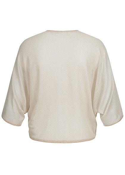 ONLY Damen leichter 1/2-Arm Bolero offener Schnitt Glitzer Detail pumice stone beige