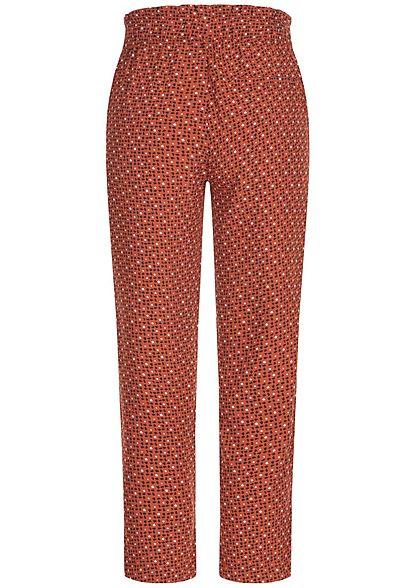 Tom Tailor Damen Paperbag Sommer Hose 2-Pockets Allover Geo Print copper braun