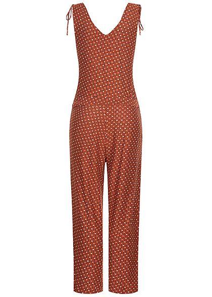 Tom Tailor Damen V-Neck Jumpsuit inkl. Bindegürtel Allover Geo Print copper braun