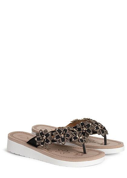 Seventyseven Lifestyle Damen Schuh Sandale Zehensteg Deko Blumen schwarz