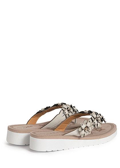 Seventyseven Lifestyle Damen Schuh Sandale Zehensteg Deko Blumen weiss grau