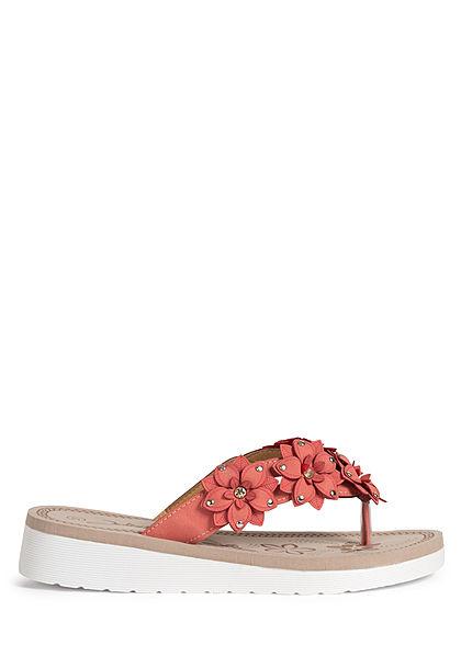 Seventyseven Lifestyle Damen Schuh Sandale Zehensteg Deko Blumen rot