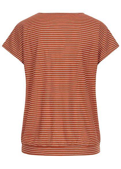 Tom Tailor Damen V-Neck T-Shirt Streifen Muster braun weiss