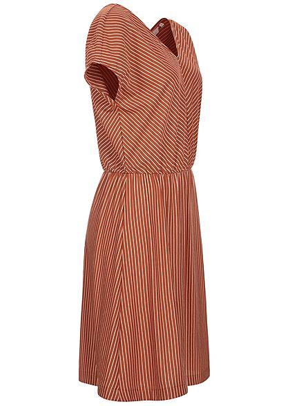 Tom Tailor Damen V-Neck Midi Kleid Taillengummibund Streifen Muster braun weiss