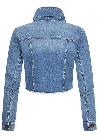 Noisy May Damen kurze Jeans Jacke 2-Pockets Fransen medium blau denim